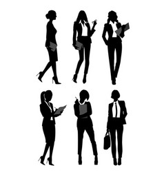 silhouettes of businesswomen vector image vector image