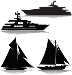 Yachts black silhouette vector image vector image