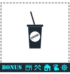Disposable soda cup icon flat vector