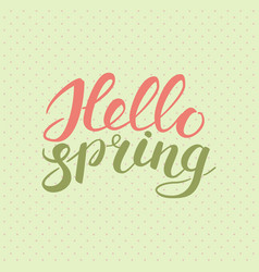 phrase hello spring brush pen color lettering vector image
