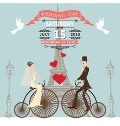 Wedding invitationBride groom on retro bike vector image vector image