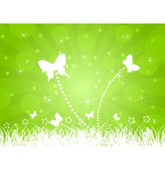 white butterflies on a green background a vector i vector image vector image