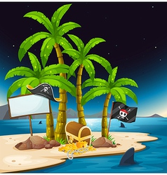 A pirate island with an empty signboard vector image vector image