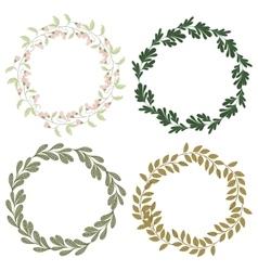 Hand drawn set of retro wreath vector