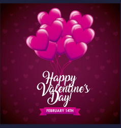 happy valentines day card balloons shaped hearts vector image