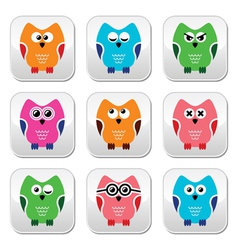 Owl cartoon icons set vector image