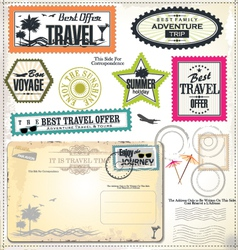 Post stamp Summer holiday and travel time label vector image vector image