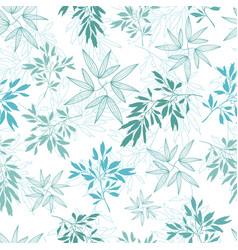 Teal tropical leaves summer seamless vector