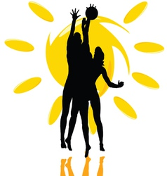 volleyball play two girl silhouette on the sun vector image