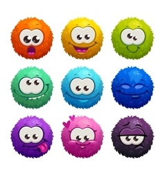 Funny colorful cartoon comic fury round characters vector image vector image