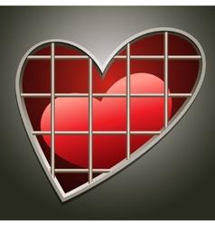 heart in jail vector image vector image