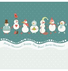 horizontal of cute snowmen vector image