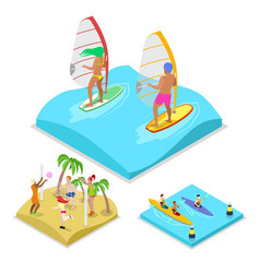 isometric outdoor activity surfing kayaking vector image vector image