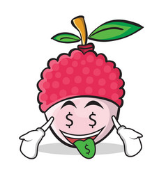 money mouth face lychee cartoon character style vector image vector image