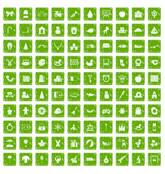 100 nursery school icons set grunge green vector