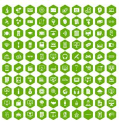 100 website icons hexagon green vector image