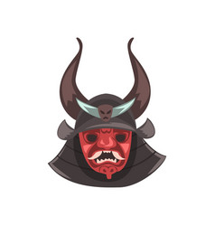 ancient japanese samurai mask and helmet with vector image