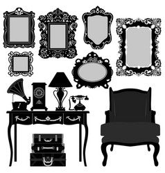 antique picture frame ornate vintage retro museum vector image