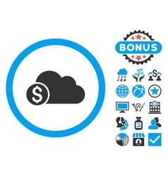 Banking Cloud Flat Icon with Bonus vector image