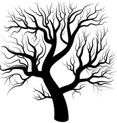 black silhouette bare tree vector image