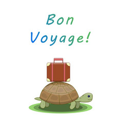 Bon voyage turtle goes on a trip with a suitcase vector