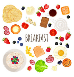 Breakfast food and drink collection isolated vector