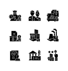 Business development black glyph icons set vector
