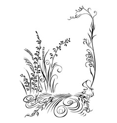 Calligraphy grass flowers plans black silhouette vector
