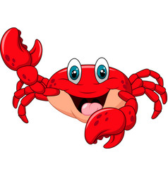cartoon happy crab isolated on white background vector image
