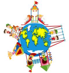 children playing on playground around the world vector image
