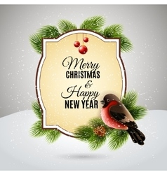 Christmas greetings card with robin bullfinch vector