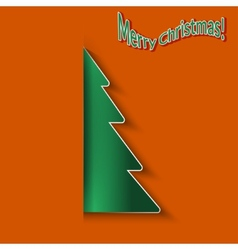 Christmas orange background with paper Christmas vector image