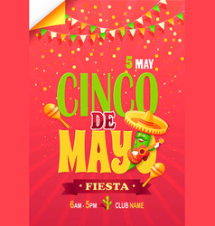 cinco de may fiesta bright promotional poster vector image