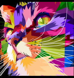 close up of face colorful cat vector image