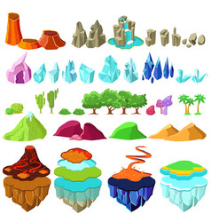 Colorful game islands landscape elements set vector