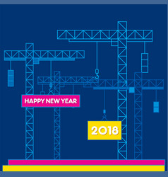 creative happy new year 2018 poster design vector image