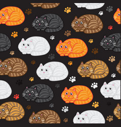 Cute cats seamless pattern funny doodle vector