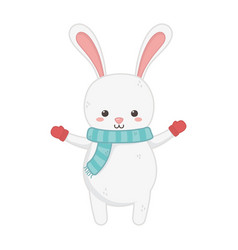 cute rabbit with scarf merry christmas vector image