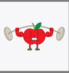 Cute tomato character lifting weights vector