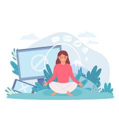 digital detox woman in lotus pose meditate vector image