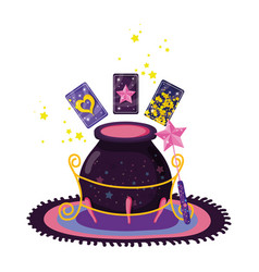 Divination cards with witch cauldron vector