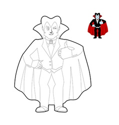 Dracula coloring book Vampire Count in linear vector image