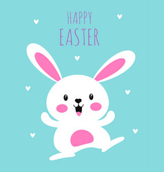 Easter card with cute happy bunny isolated vector