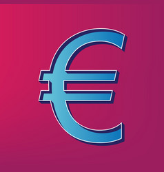 euro sign blue 3d printed icon on magenta vector image