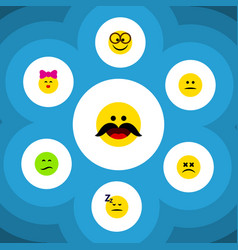 Flat icon face set of asleep caress pleasant and vector