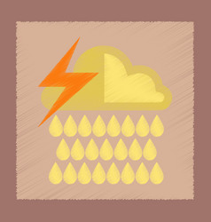 Flat shading style icon thunderstorm rain cloud vector