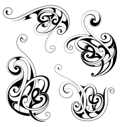 Floral tattoo shapes vector image
