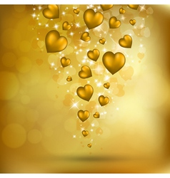 flying golden hearts vector image