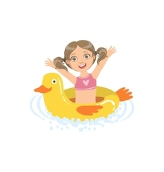 Girl In Water With Toy Duck Float vector image
