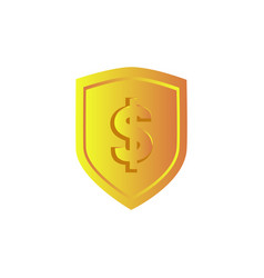 golden shield with dollar symbol design isolated vector image